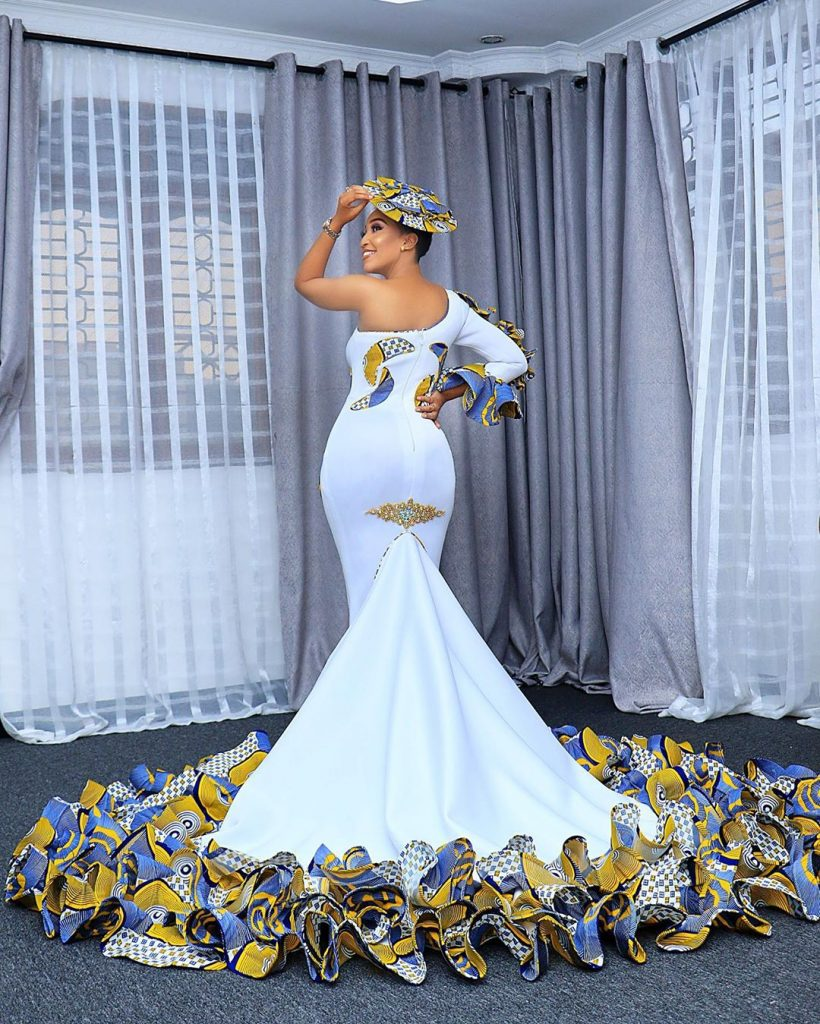 Traditional Wedding Dress (White & Tanzanian Prints)
